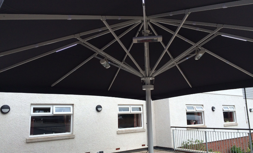 Black and silver umbrella with heating system