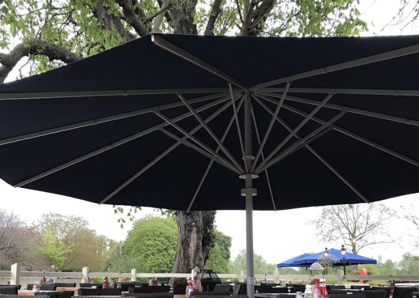 Black and silver umbrella