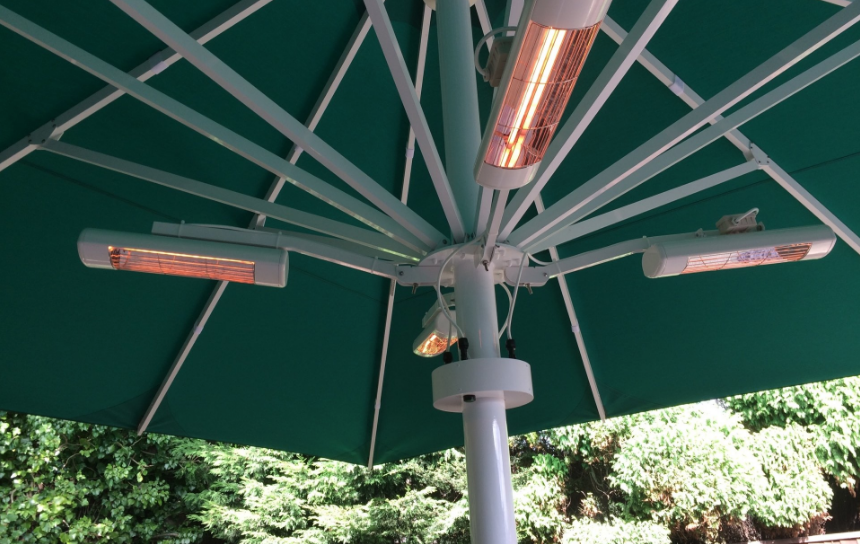Green umbrella with heating system